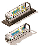 Vector isometric low poly subway train cross-section