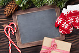 Christmas chalkboard, decor and fir tree