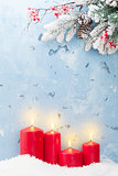 Christmas candles and fir tree