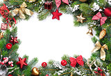 Christmas frame with decor and fir tree