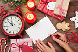 Writing christmas greeting card