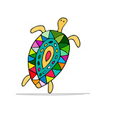 Funny dancing turtle, sketch for your design
