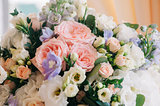 Wedding decor. Beautiful flowers in bouquet, closeup