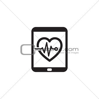 Cardiogram and Medical Services Icon. Flat Design.