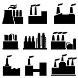 Industrial buildings, factory and pollution
