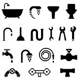Plumbing and bathroom icons