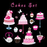 Vector set of sweet cakes and pastries