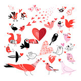 Beautiful set of graphics much in love with birds