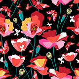 Seamless pattern of beautiful red poppies