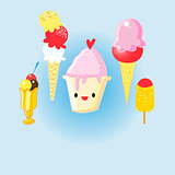 Graphic set of cheerful delicious ice cream