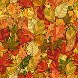 abstract doodle autumn leaves seamless pattern