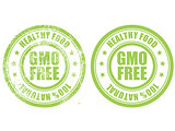Grunge rubber stamp with inscription GMO free natural bio food