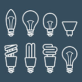 Fluorescent lamp and light bulb icons