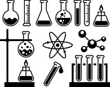 Chemical laboratory equipment - test tubes, flasks and measuring