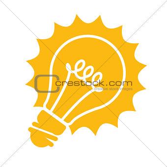 Glowing light bulb icon - idea concept
