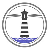 Maritime lighthouse icon on waves