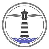 Maritime lighthouse icon on waves
