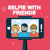 Selfie with friends - smartphone on selfie stick