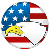 Badge with head of Eagle and American flag