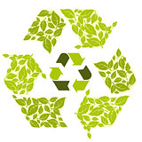 Conceptual recycling symbol with green leaves