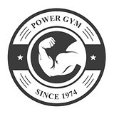 Gym badge - bodybuilder's hand, sport emblem with biceps