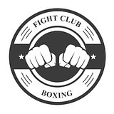 Fight club emblem with two fists - boxing club badge