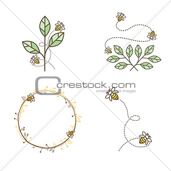 Bee Logo Design Set