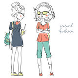 Vector cute fashionable girls