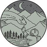 Astronaut Touching Brontosaurus Circle Mono Line