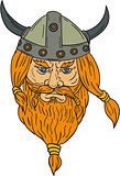 Norseman Viking Warrior Head Drawing