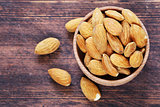 organic peeled nuts almonds on a wooden background