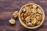 organic peeled nuts walnut  on a wooden background