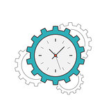 Clock gear flat line icon