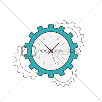 Clock gear flat line icon
