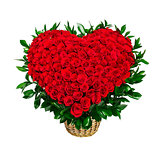 Heart shaped bouquet of red roses