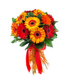 Flower bouquet of red and orange gerberas