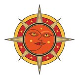 Sun and moon face isolated on white background.