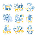 Natural Milk And Fresh Dairy Products Set Of Colorful Promo Sign Design Templates With Cows And Milk Packs