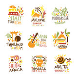 Touristic Travel Agency Set Of Colorful Promo Sign Design Templates With Different Tourism Countries And Their Famous Objects