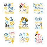 Triathlon Supporters And Fans Club For People That Love Sport Set Of Colorful Promo Sign Design Templates