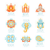 Indian Yoga Studio Set Of Colorful Promo Sign Design Templates With Mandalas And Stylized Famous Spiritual Indian Symbols