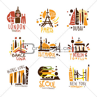 Touristic Travel Agency Set Of Colorful Promo Sign Design Templates With Different Tourism Cities And Their Architecture