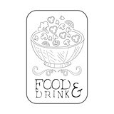 Best Catering Service Hand Drawn Black And White Sign With Salad In Square Frame Design Template With Calligraphic Text