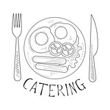 Best Catering Service Hand Drawn Black And White Sign With English Breakfast Fork And Knife Design Template With Calligraphic Text