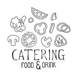 Best Catering Service Hand Drawn Black And White Sign With Food Ingredients Design Template With Calligraphic Text