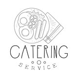 Best Catering Service Hand Drawn Black And White Sign With English Breakfast Design Template With Calligraphic Text