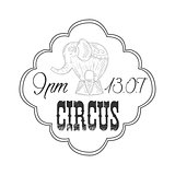 Hand Drawn Monochrome Vintage Circus Show Promotion Sign With Trained Elephant In Pencil Sketch Style With Calligraphic Text