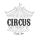 Hand Drawn Monochrome Vintage Circus Show Promotion Sign With Date And Time In Pencil Sketch Style With Calligraphic Text