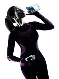 woman runner running jogger jogging drinking water isolated silh