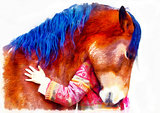 loving horse and a girl, girl hugging a horse. computer painting effect.